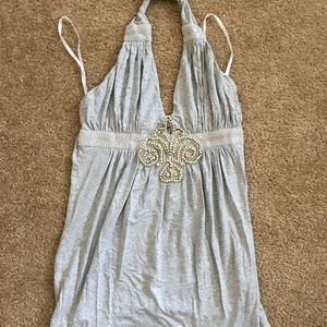 Sky Brand Grey Crystal Waist Band Top Size S